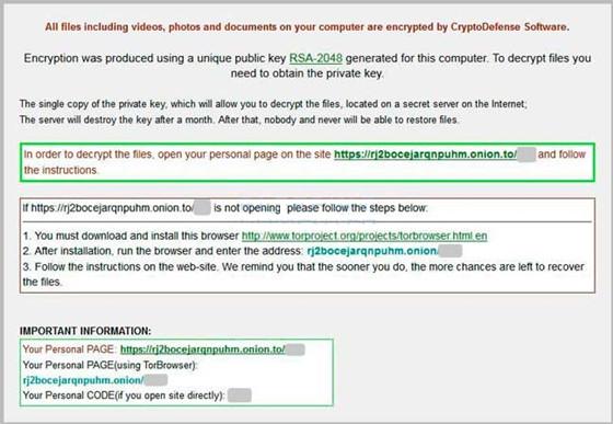 CryptoDefense Ransomware Screen
