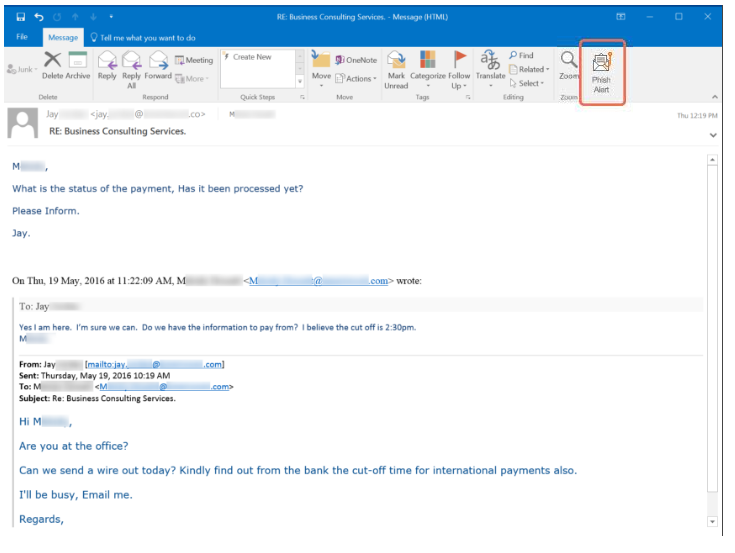 CEO Fraud Phishing Email Example