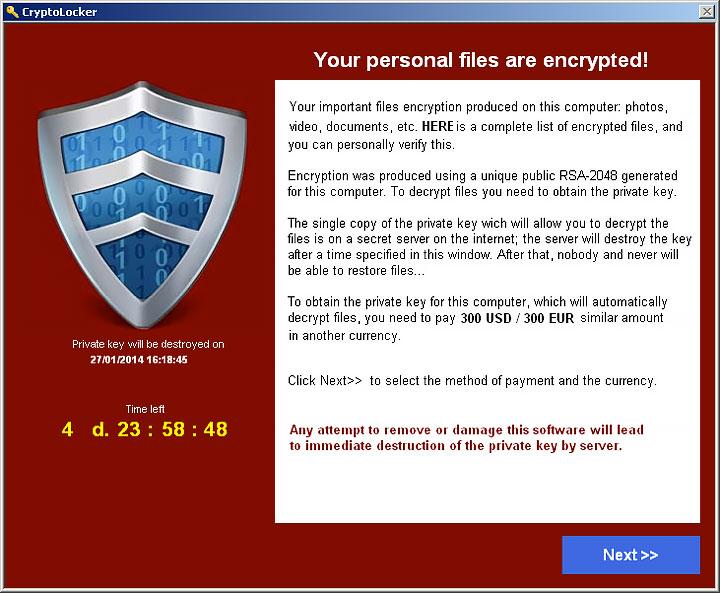 CryptoLocker 2.0 Ransomware