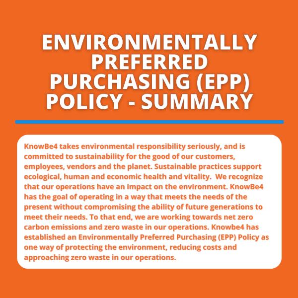 Environmentally Preferred Purchasing Policy - Summary