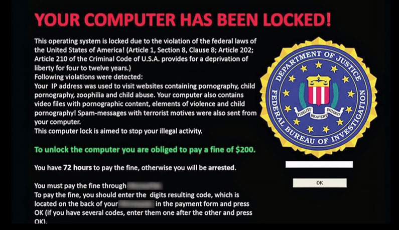 Locker Ransomware Message Example