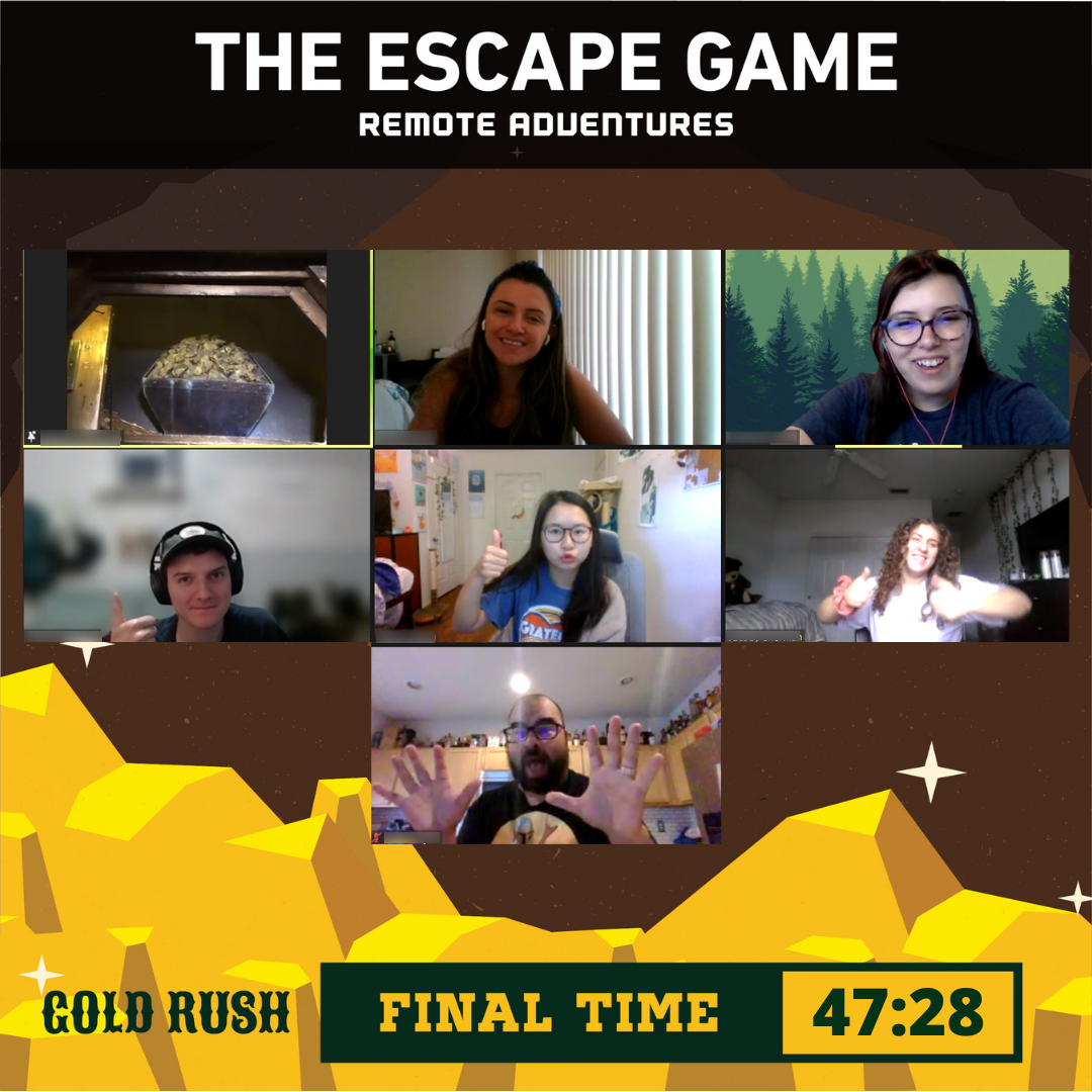 Interns playing the escape room team building game