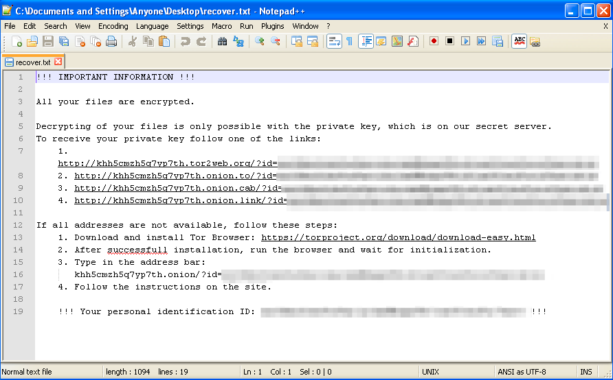 Bart Ransomware Encryption Screenshot