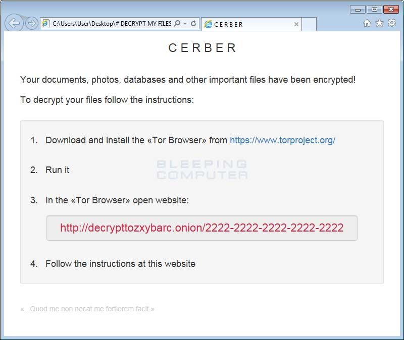 Cerber HTML Ransom Note
