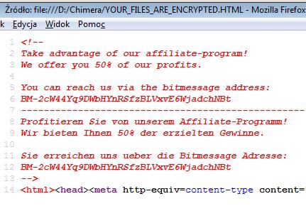 Chimera Ransomware Affiliate Program