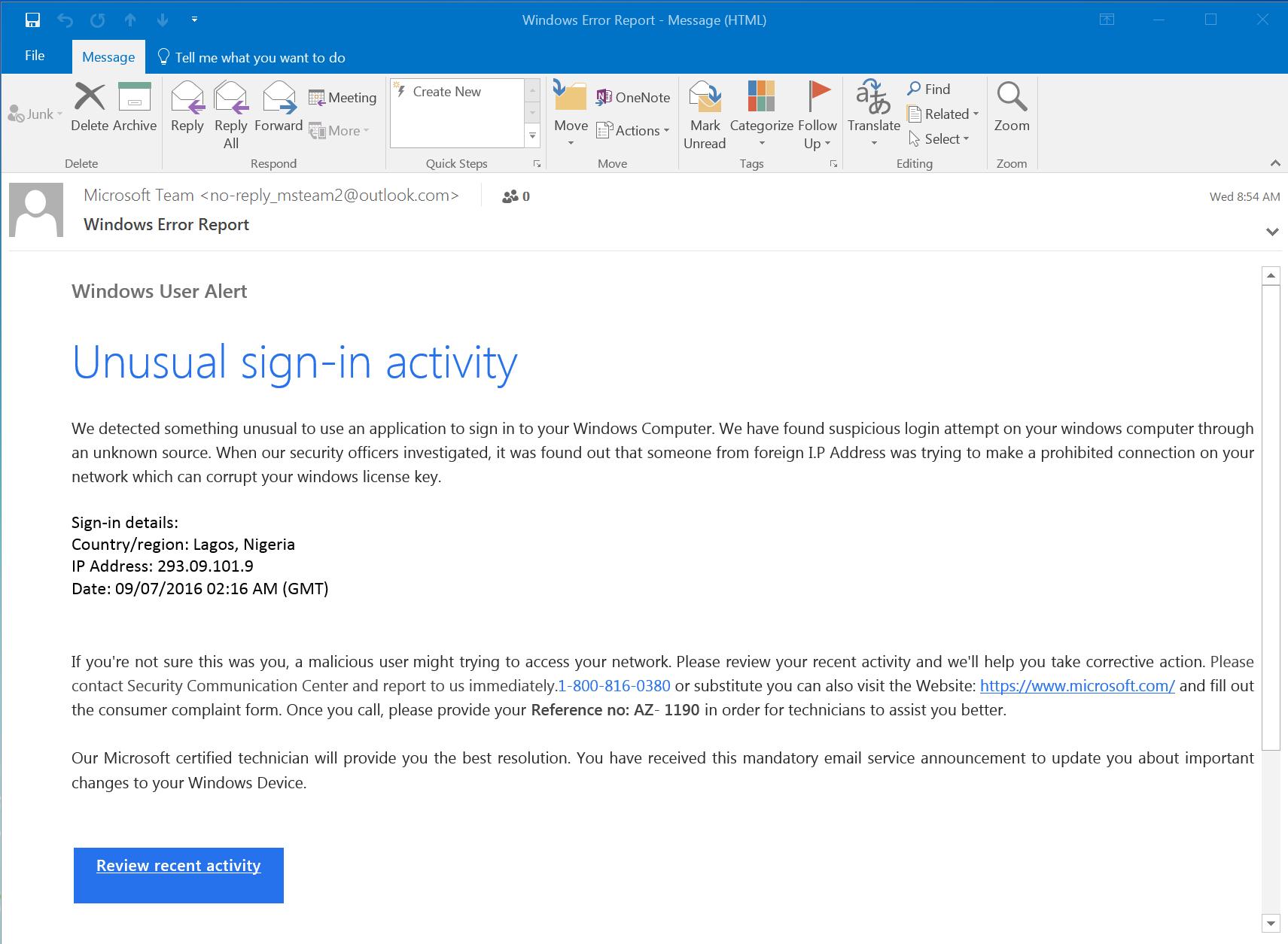 Malicious Windows Warning Email