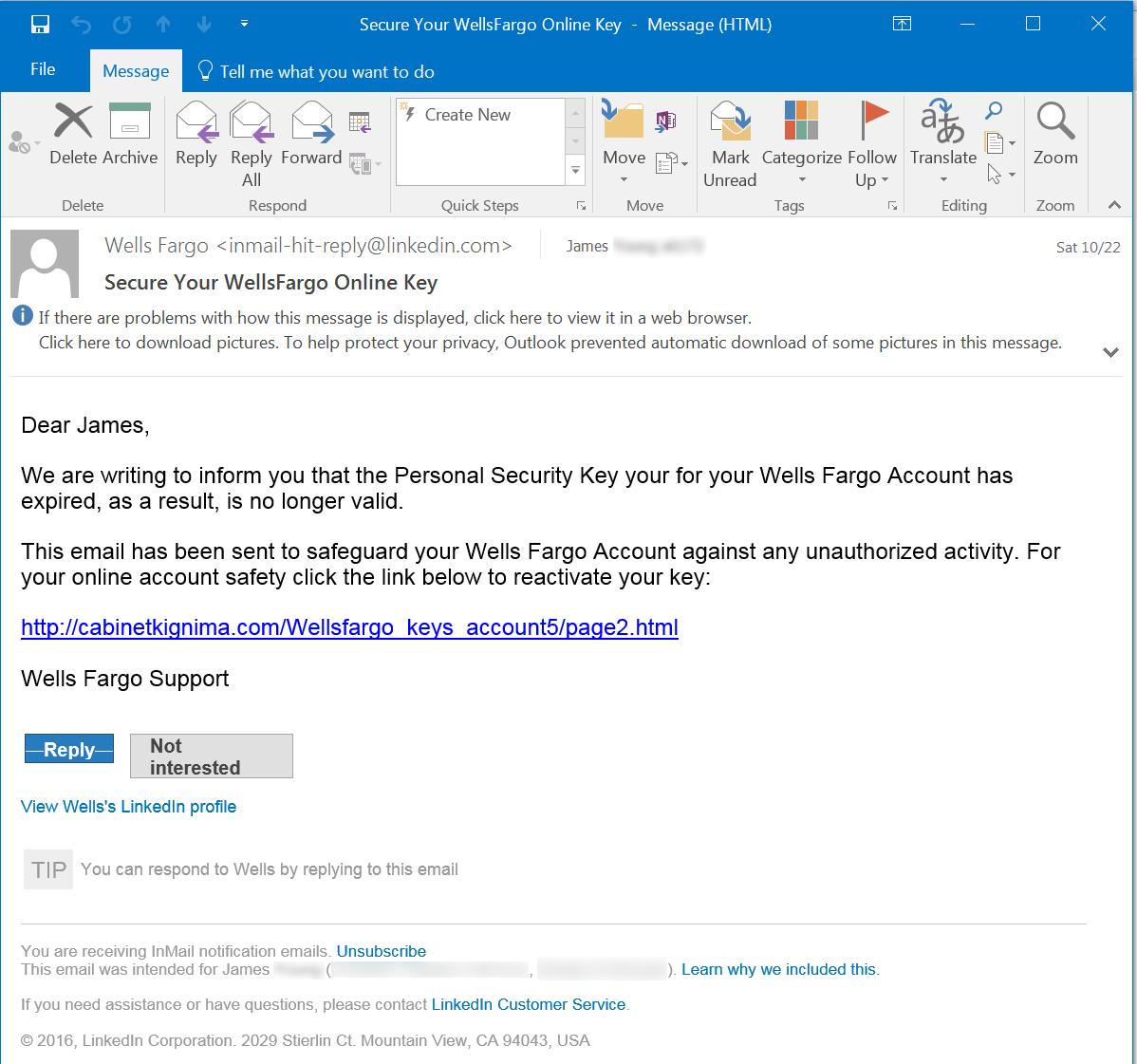 LinkedIn Email Phish Screenshot