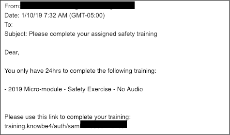 This Is Not A Drill Kb4 Training Template Used As Phishing