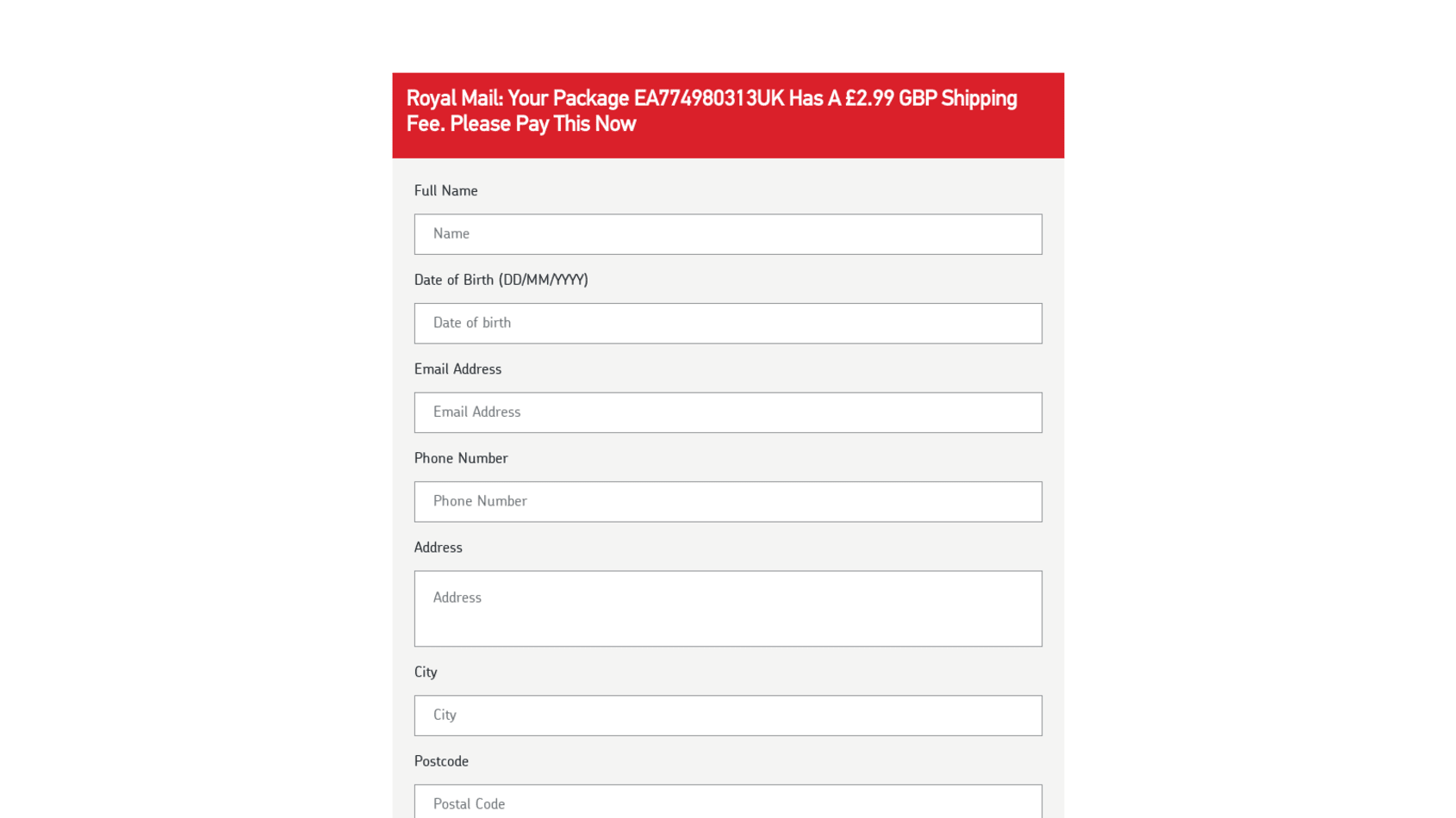 Royal Mail Phishing 1