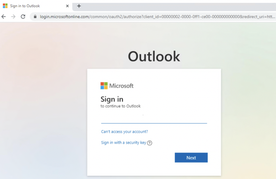 microsoft outlook sso example phishing email