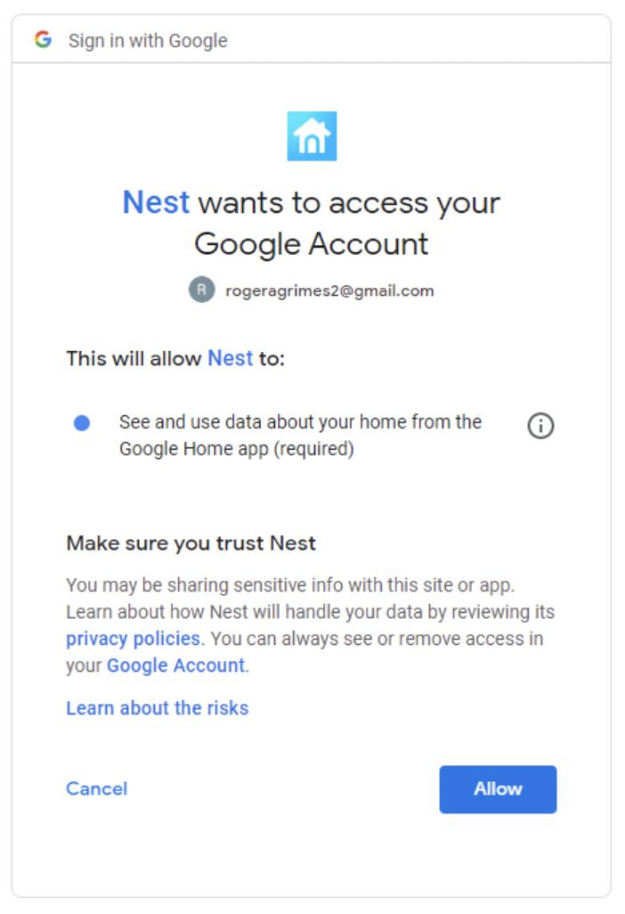 google nest phishing email
